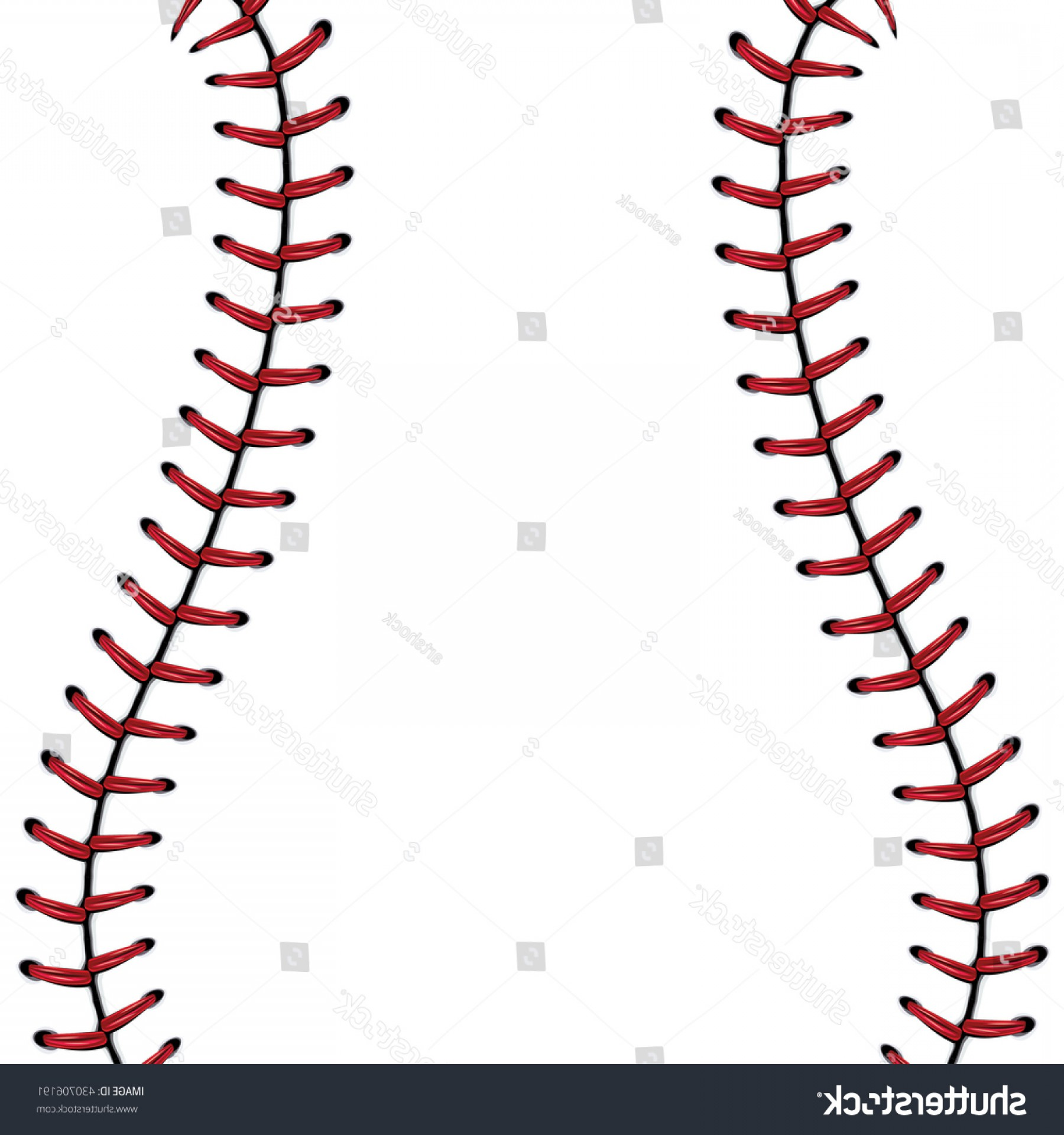 Softball Laces Vector Art B W: Softball Baseball Red Lace Over White