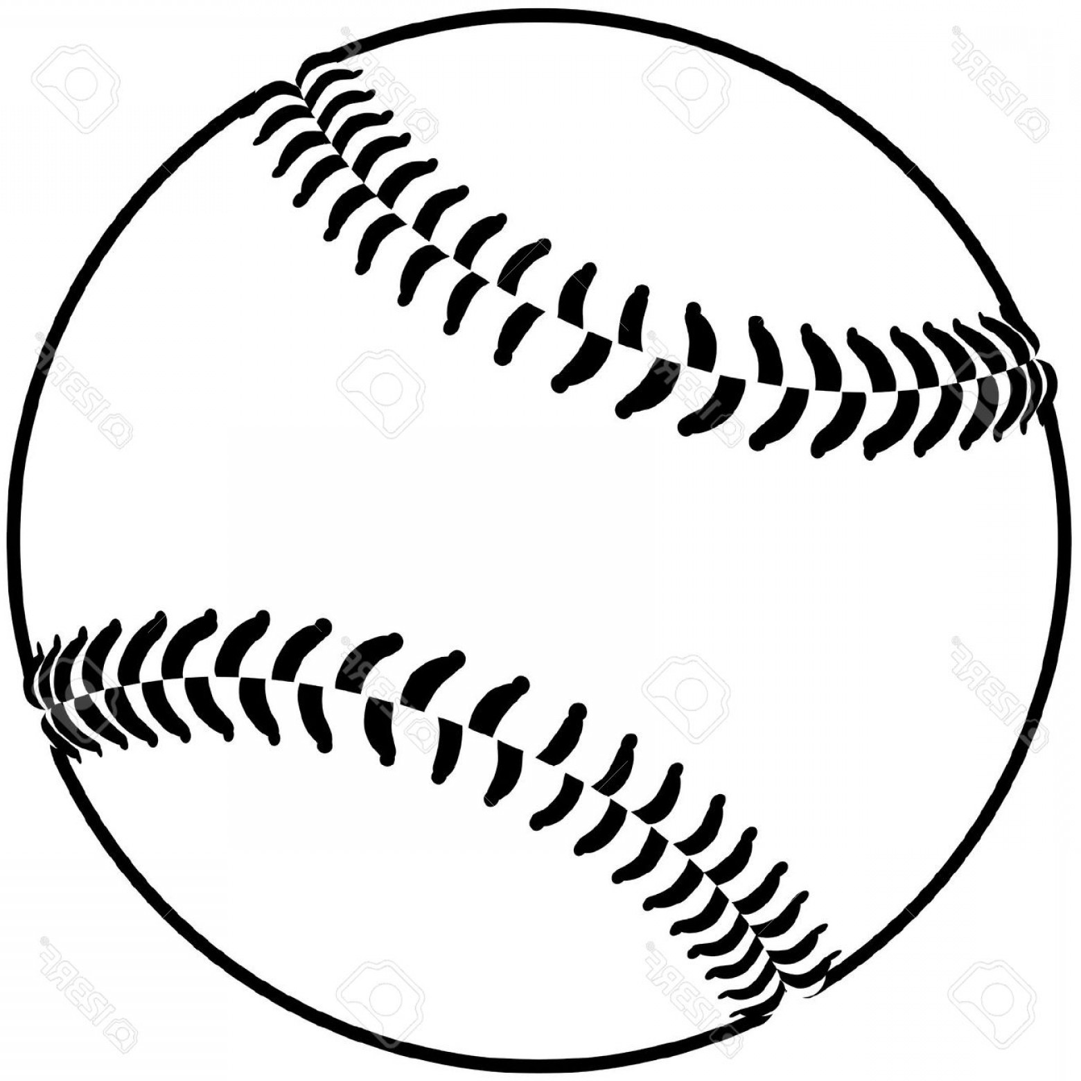 Softball Laces Vector Art B W: Softball Clipart Black And White Drawn Baseball