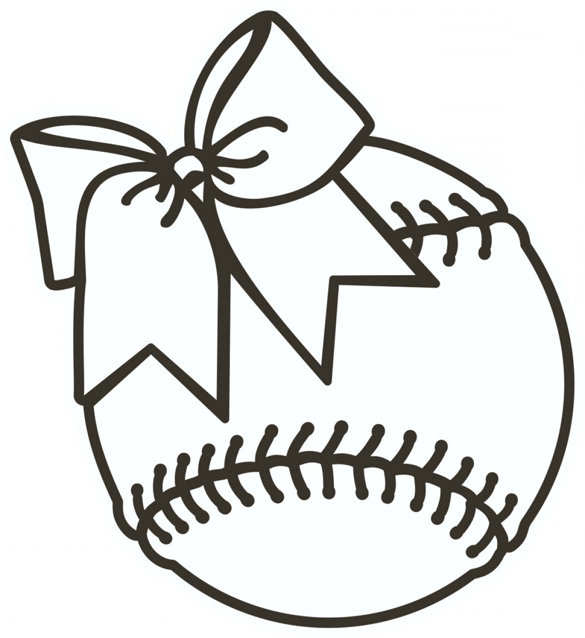 Softball Laces Vector Art B W: Softball Clipart Black And White Softball Clip Art