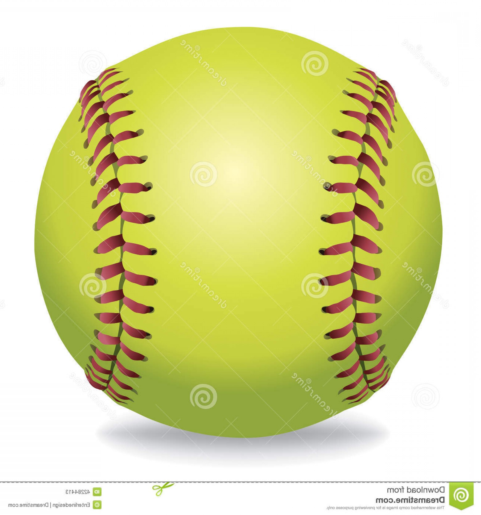 Neon Green Softball Stitches Vector: Softball On White Illustration Illustration
