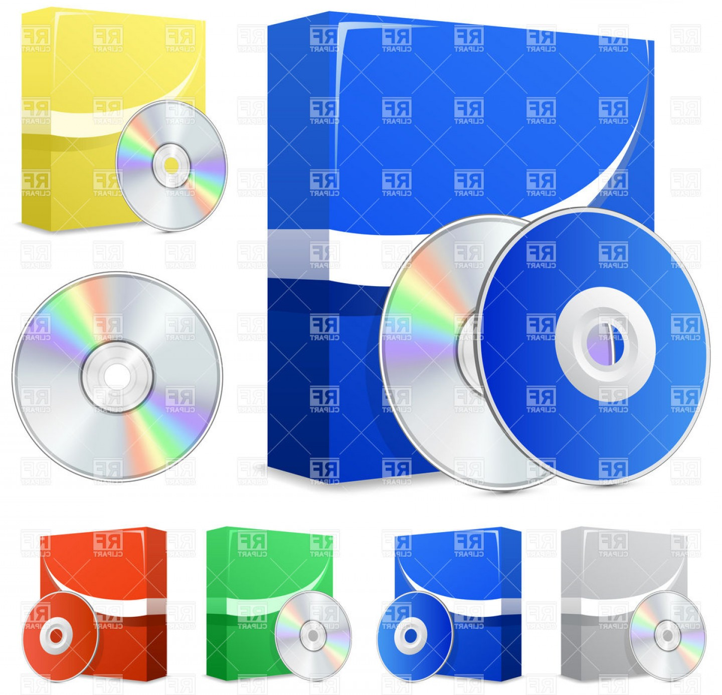 Free Vector File Software: Software Boxes And Cd Disks Vector Clipart