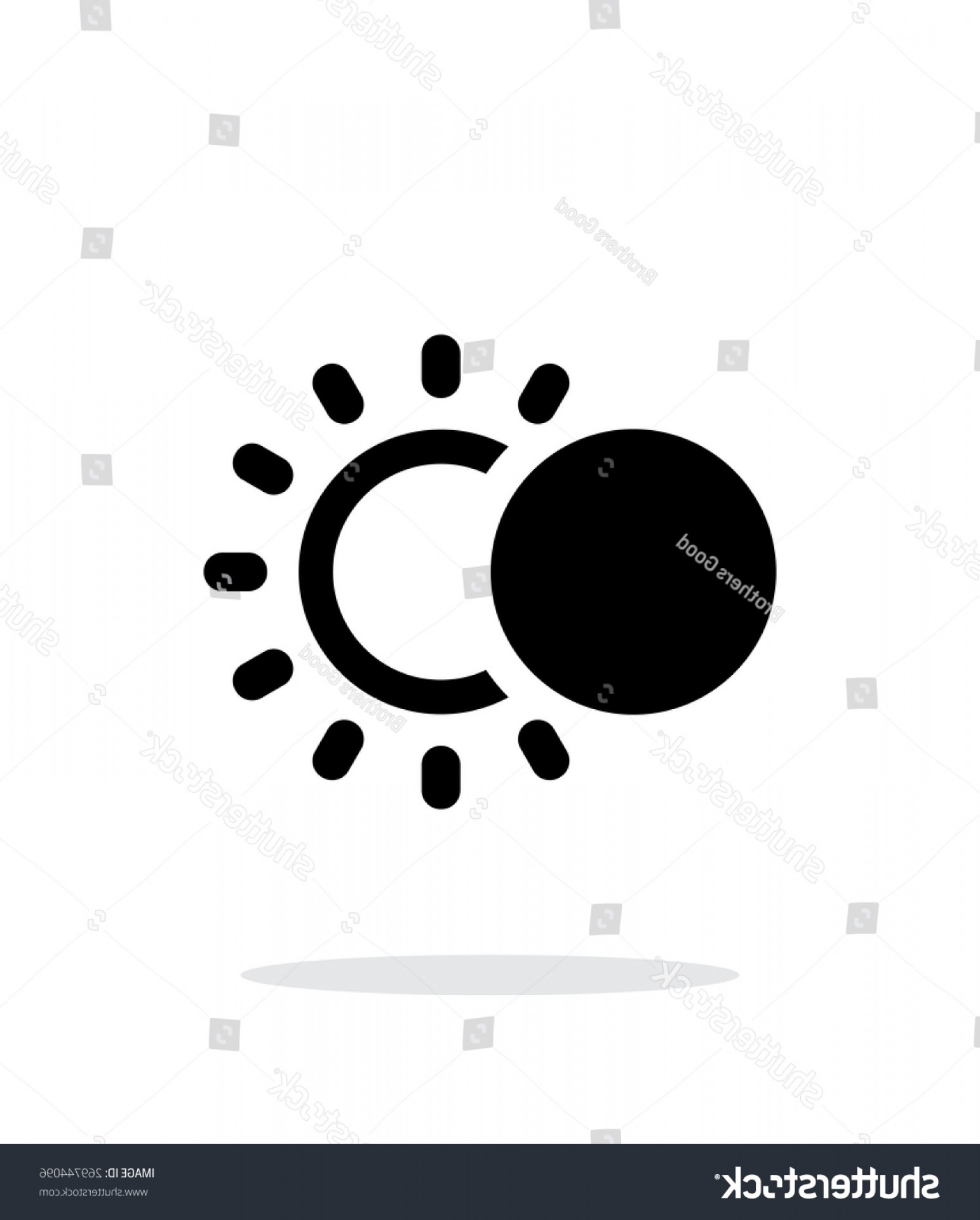 Whitew Eclipse Vector: Solar Eclipse Simple Icon On White