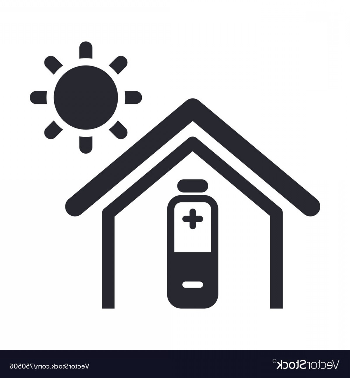 Solar Icon Vector: Solar Energy Home Icon Vector