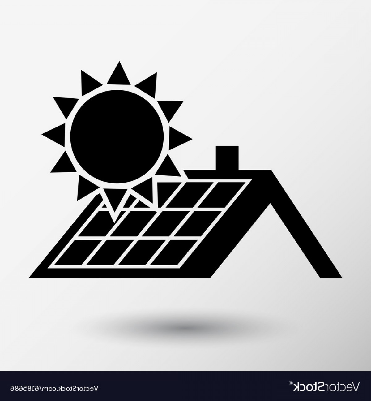 Solar Icon Vector: Solar Panels Roof Icon Button Logo Symbol Concept Vector
