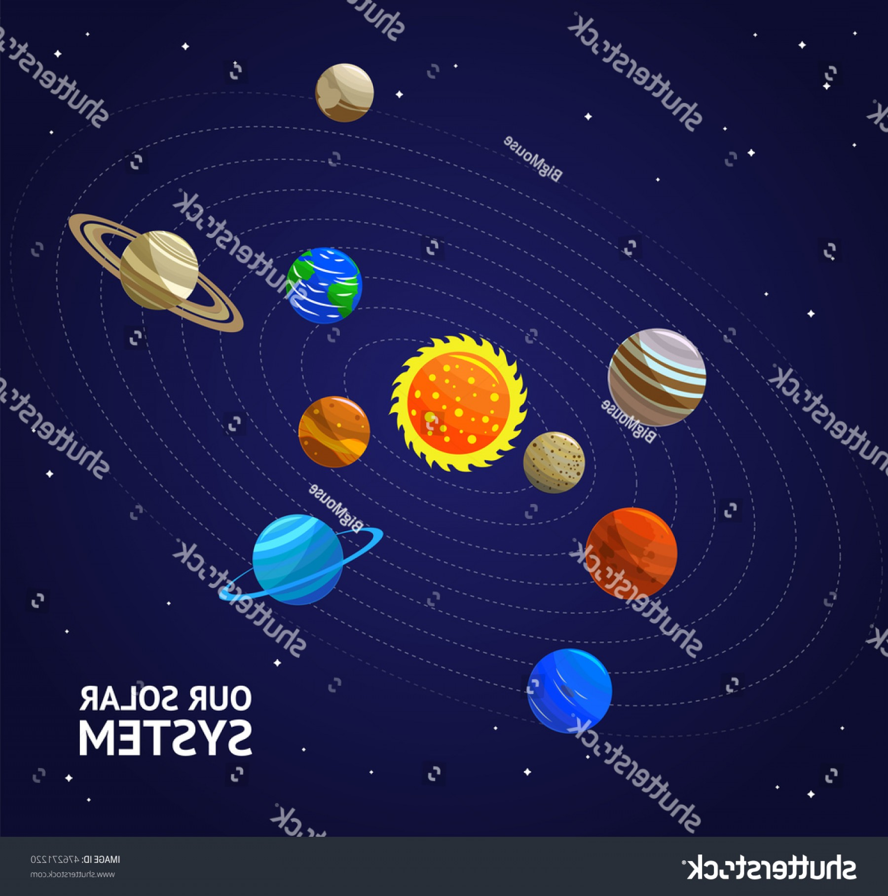 Vector Fly System: Solar System Planets Sun Flat Design