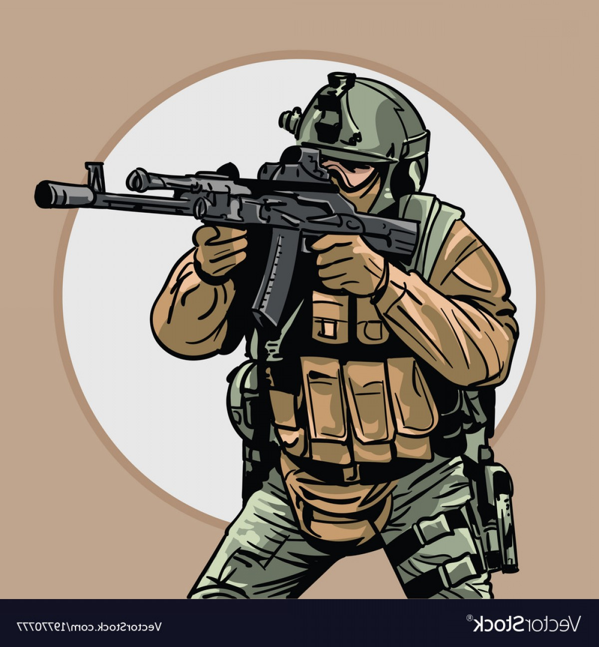 Us Special Forces Vector Files: Soldier With Gun Warrior Special Forces Vector