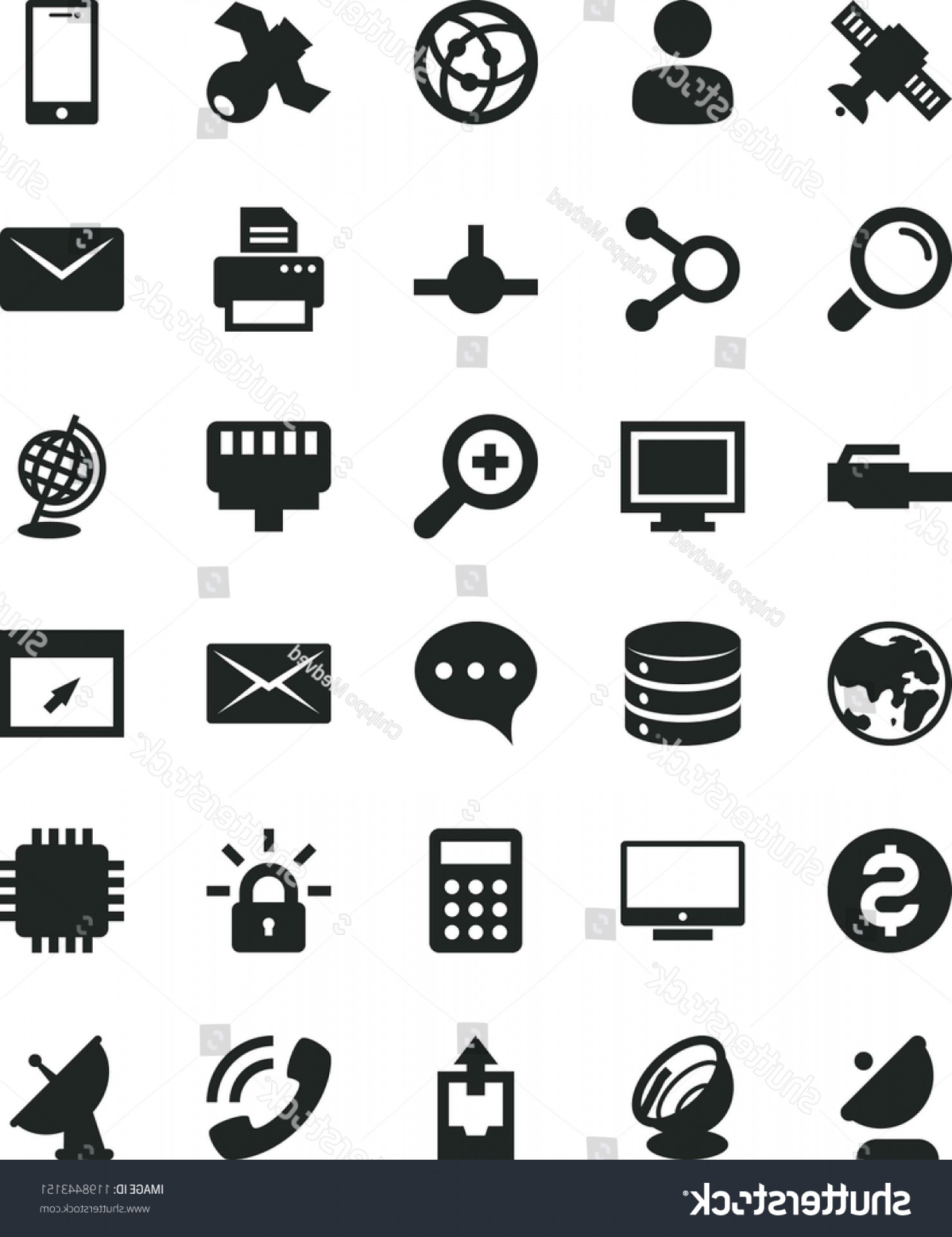 Windows 8 Phone Icon Vector: Solid Black Flat Icon Set Monitor