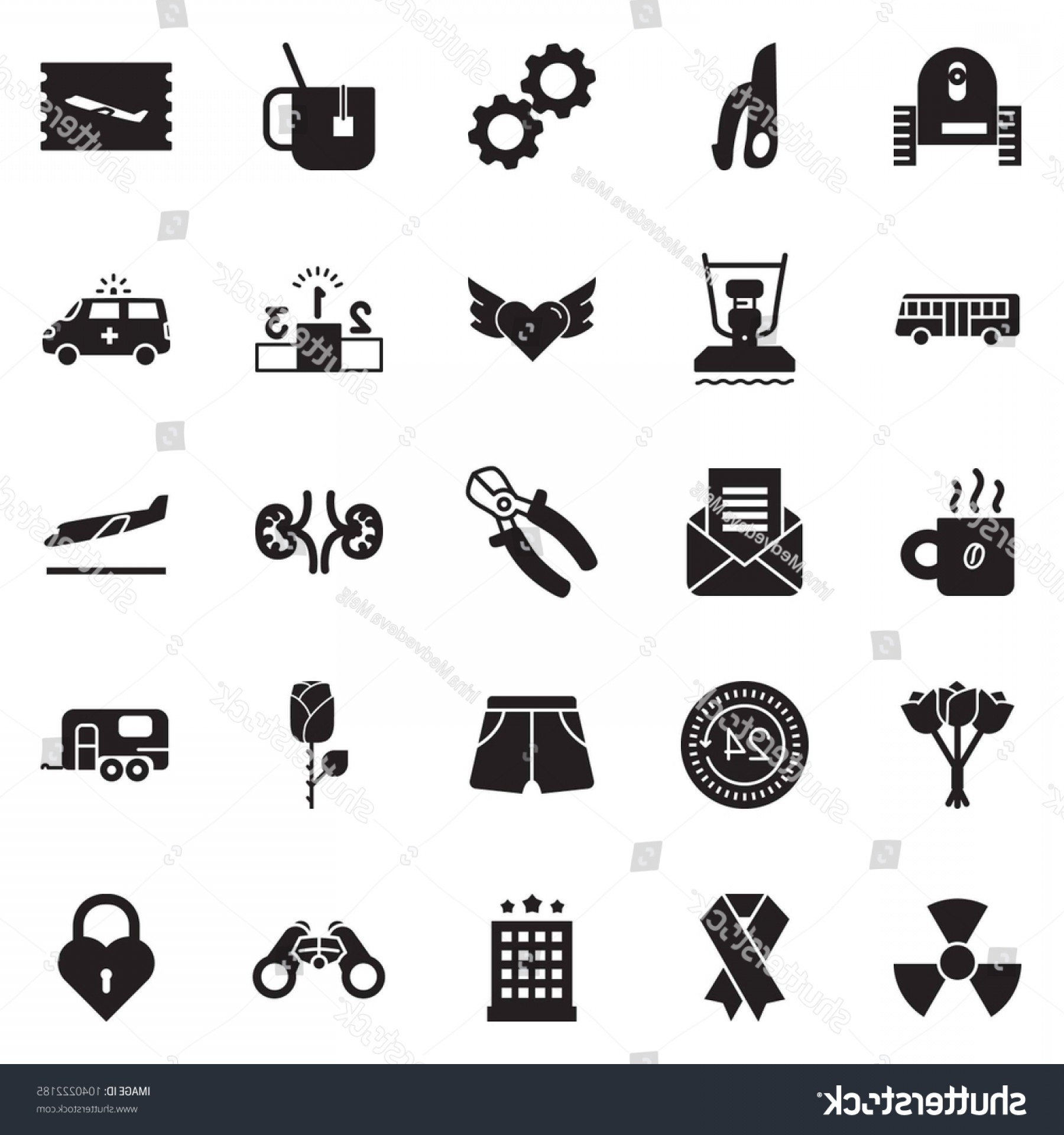 Vector Fly System: Solid Black Vector Icon Set Coffee
