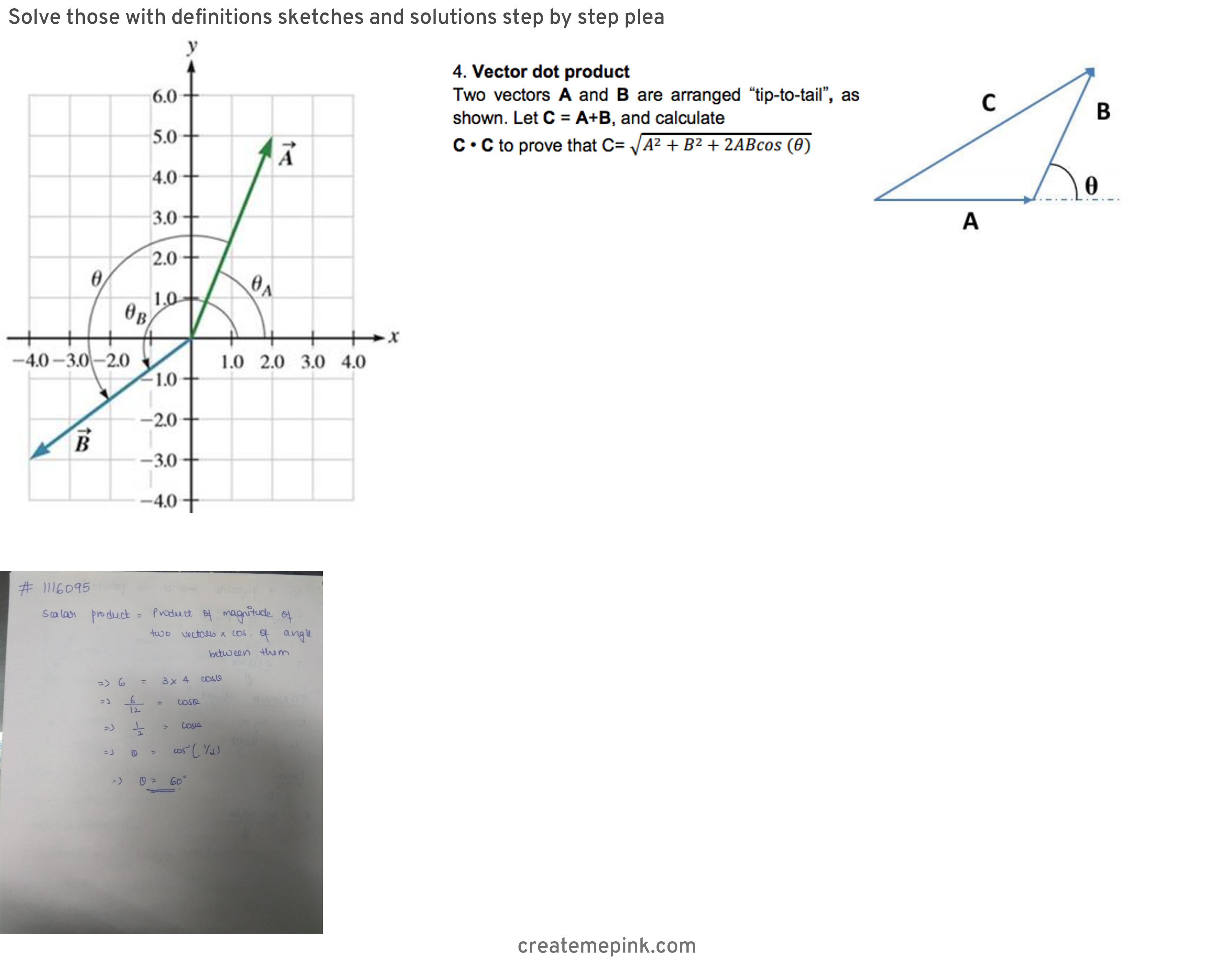 Dot Multiply Vectors: Solve Those With Definitions Sketches And Solutions Step By Step Plea