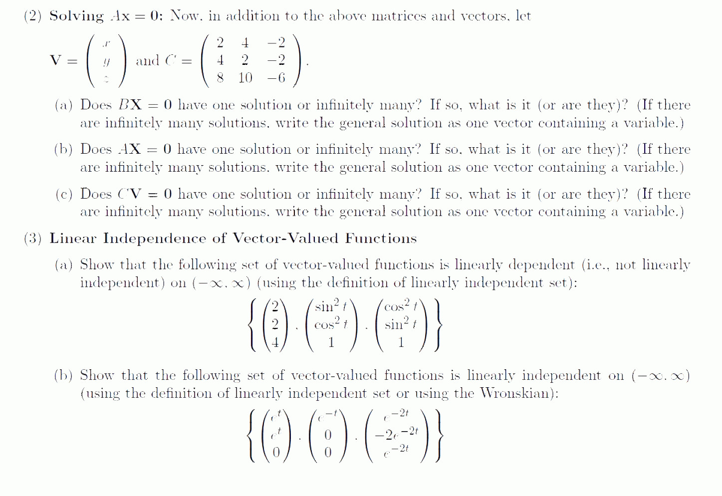 Vectors And Vector Valued Functions: Solving Ax Addition Matrices Vectors Let Nd C Bx One Solution Inf Q