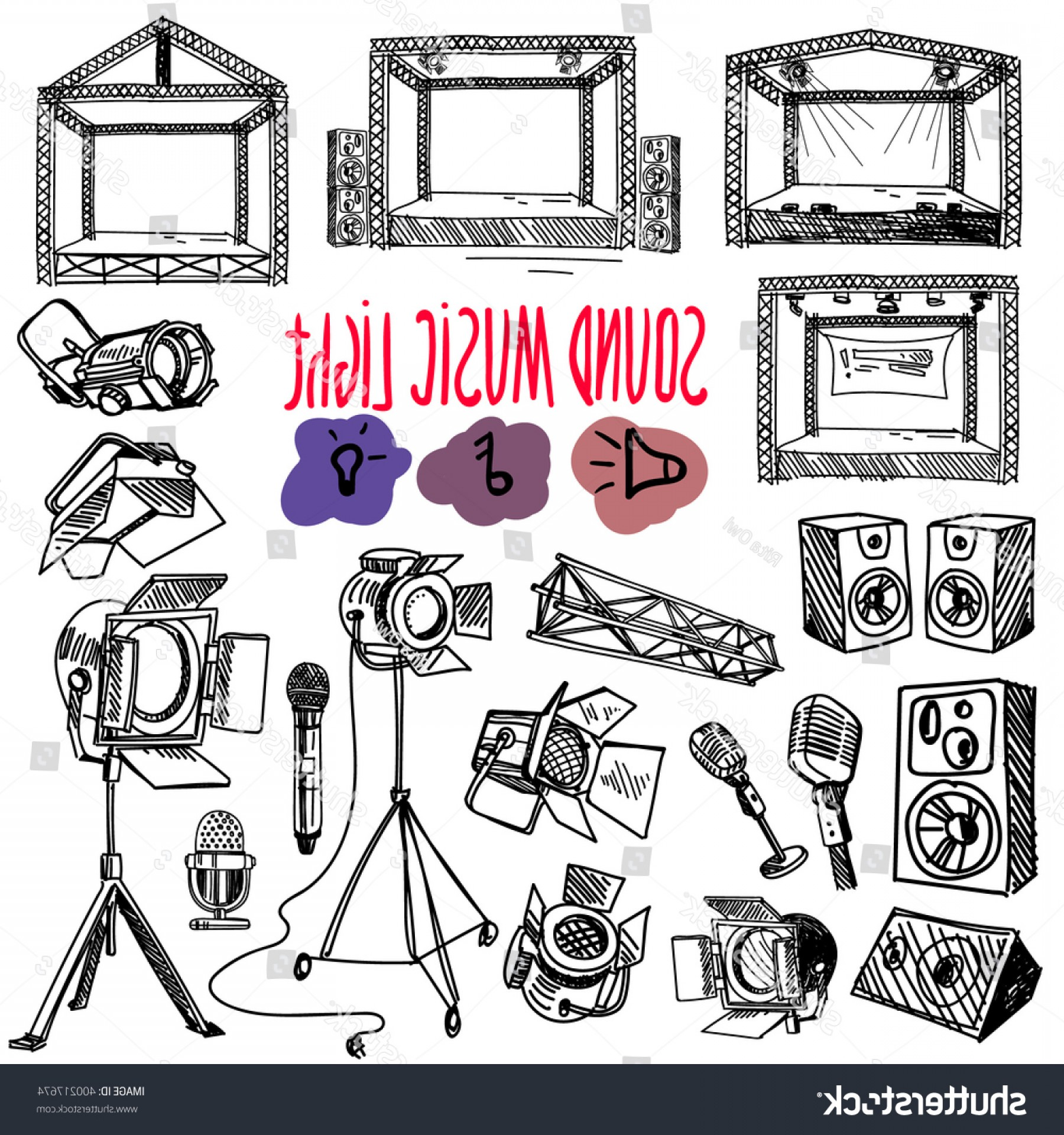 Vector Spotlight 3 Million: Sound Music Light Vector Set Handdrawn