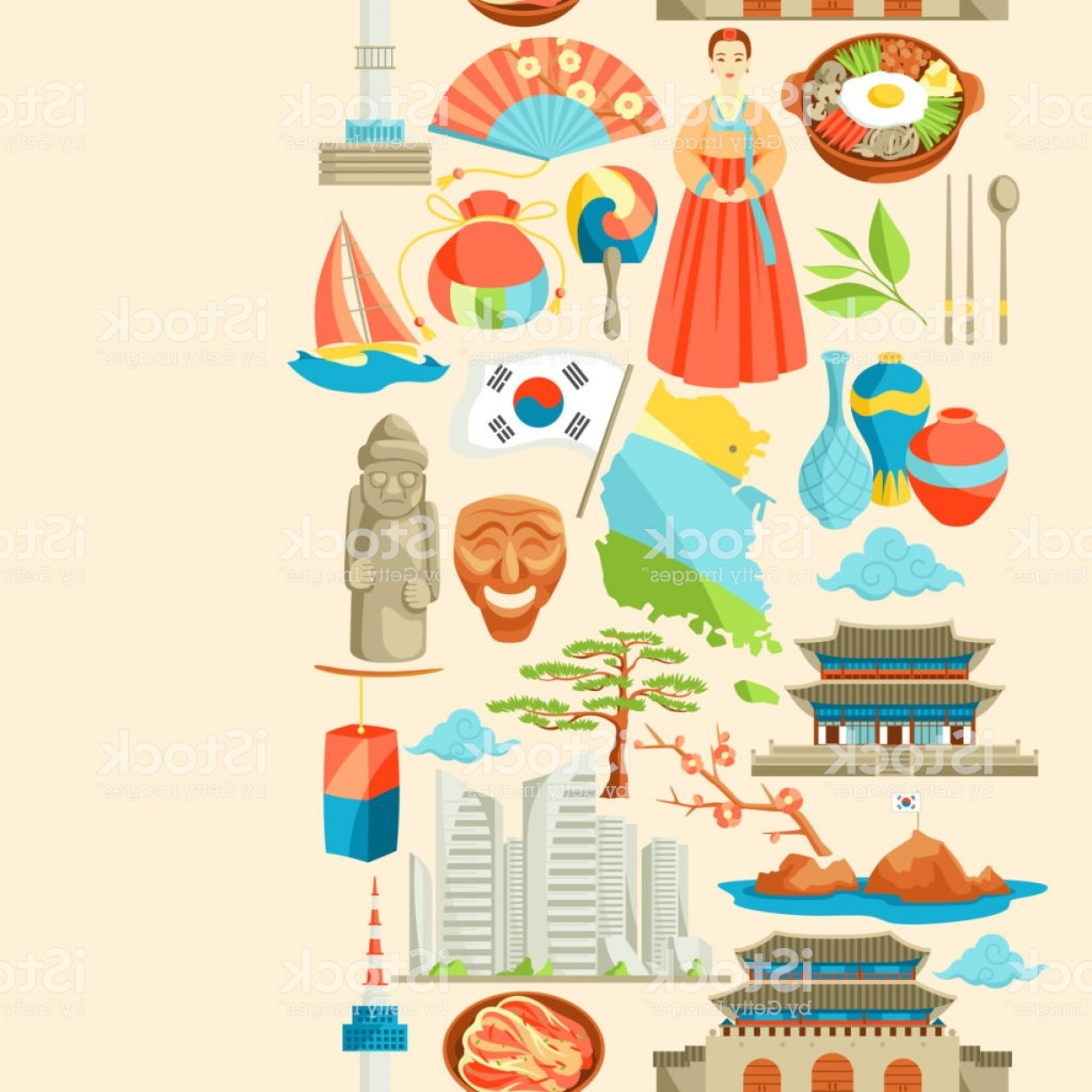 320 Vector: South Korea Seamless Pattern Korean Traditional Symbols And Objects Gm