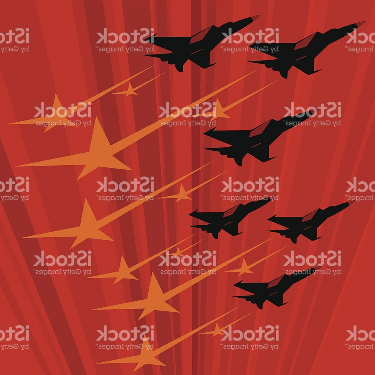 Propaganda Art Poster Vector: Soviet Propaganda Poster With Mig Jets Flying Fast Gm