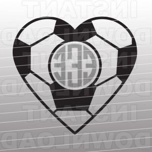 Soccer Ball Heart Beat Vector: Soccer Ball Heart Svg Filemonogram Svg