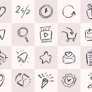 Pencil Icon Vectors Social Media: Social Media Icon Set Black White Color Vector