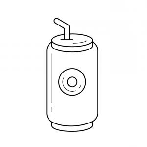 Can Vector: Soda Pop Can Line Icon Vector