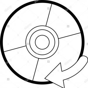 Vector CD- ROM: Software Cd Rom Symbol In Black And White Image