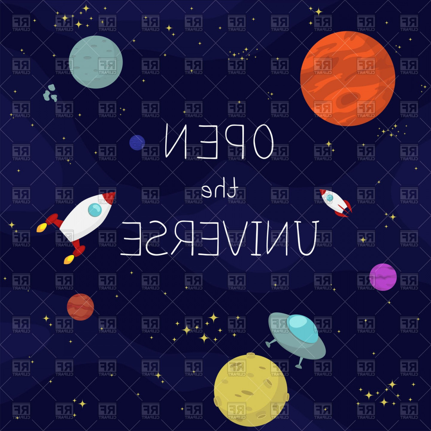 Planets Vector Graphics: Space Background With Planets Stars And Spaceships Cosmos Or Universe Vector Clipart
