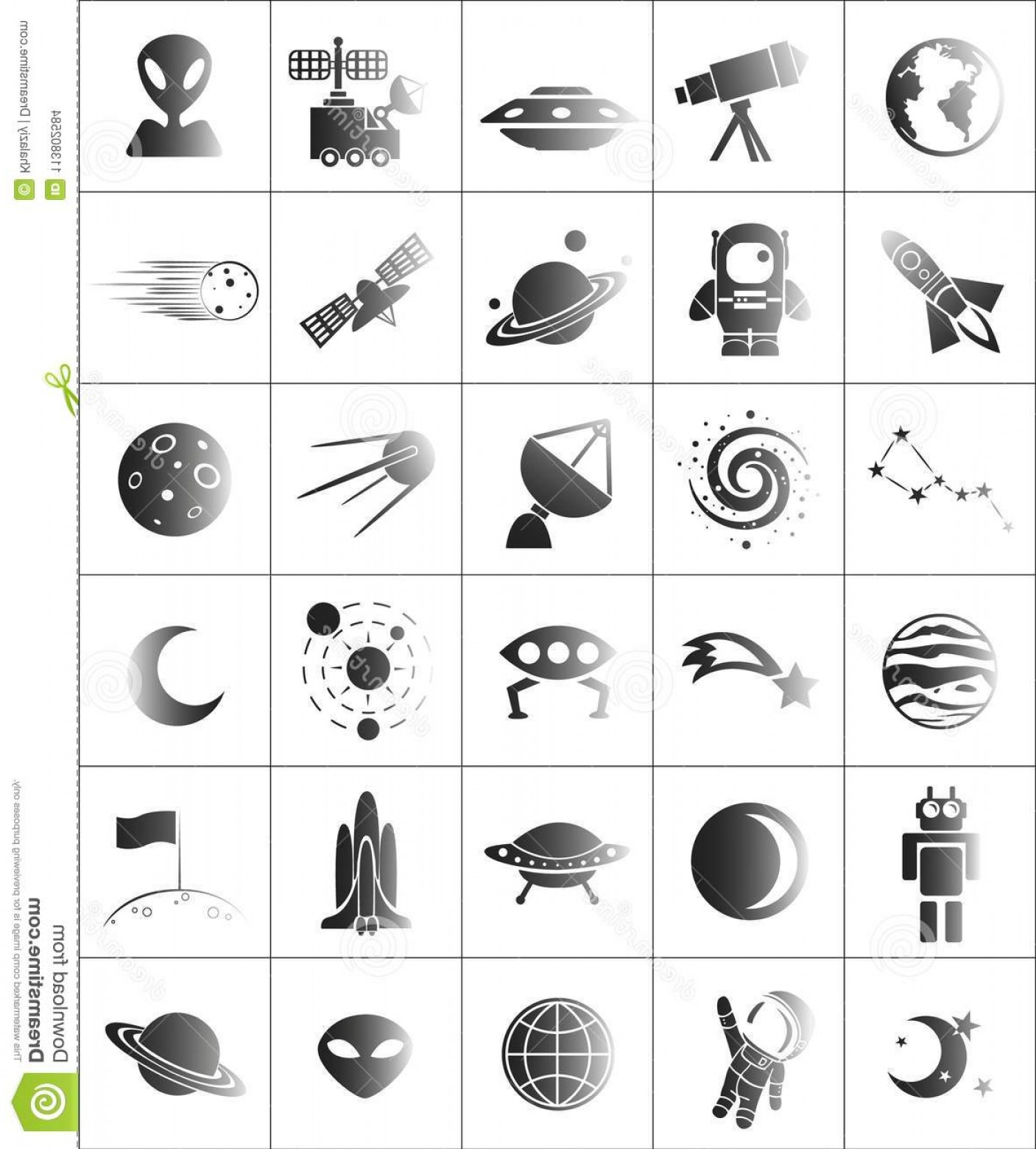 Cosmic Vector Imige: Space Cosmic Vector Icons Illustration Different Featuring Image