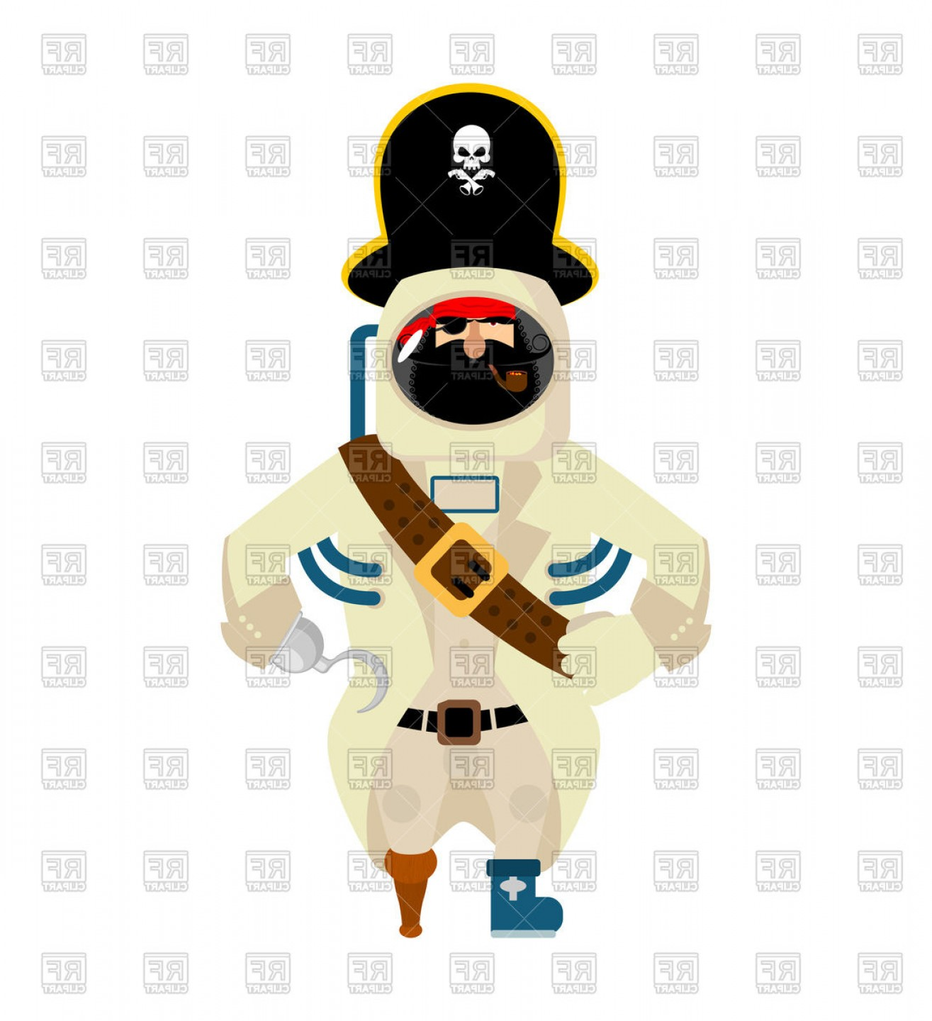 Cartoon Pirate Vector Art: Space Pirate Funny Cartoon Character Vector Clipart