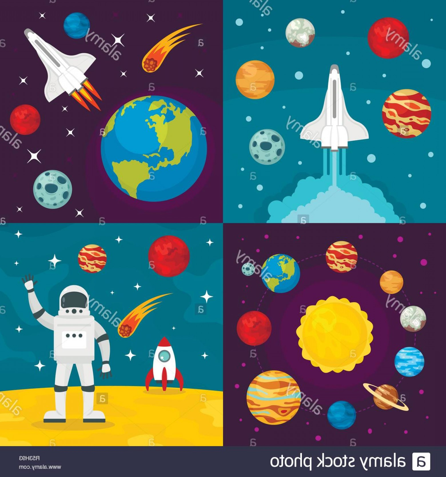 Planets Vector Graphics: Space Planets Banner Set Flat Illustration Of Space Planets Vector Banner Set For Web Design Image