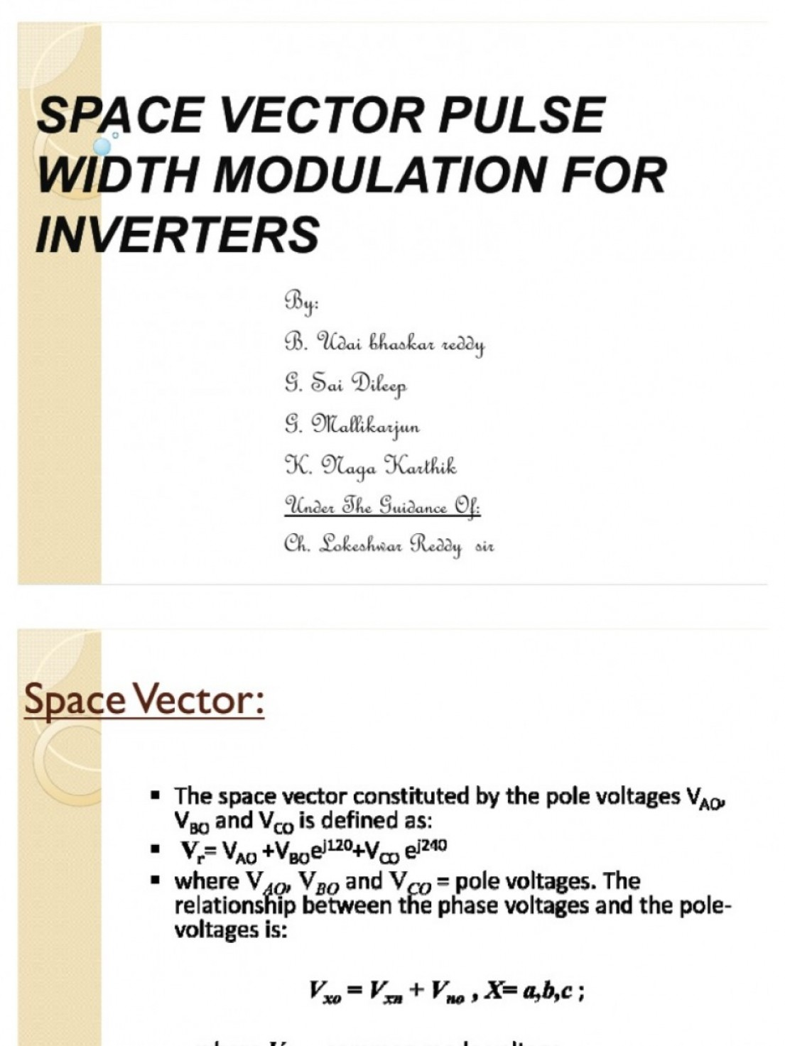 Vector Power Inverter 1500: Space Vector Pulse Width Modulation For Inverters