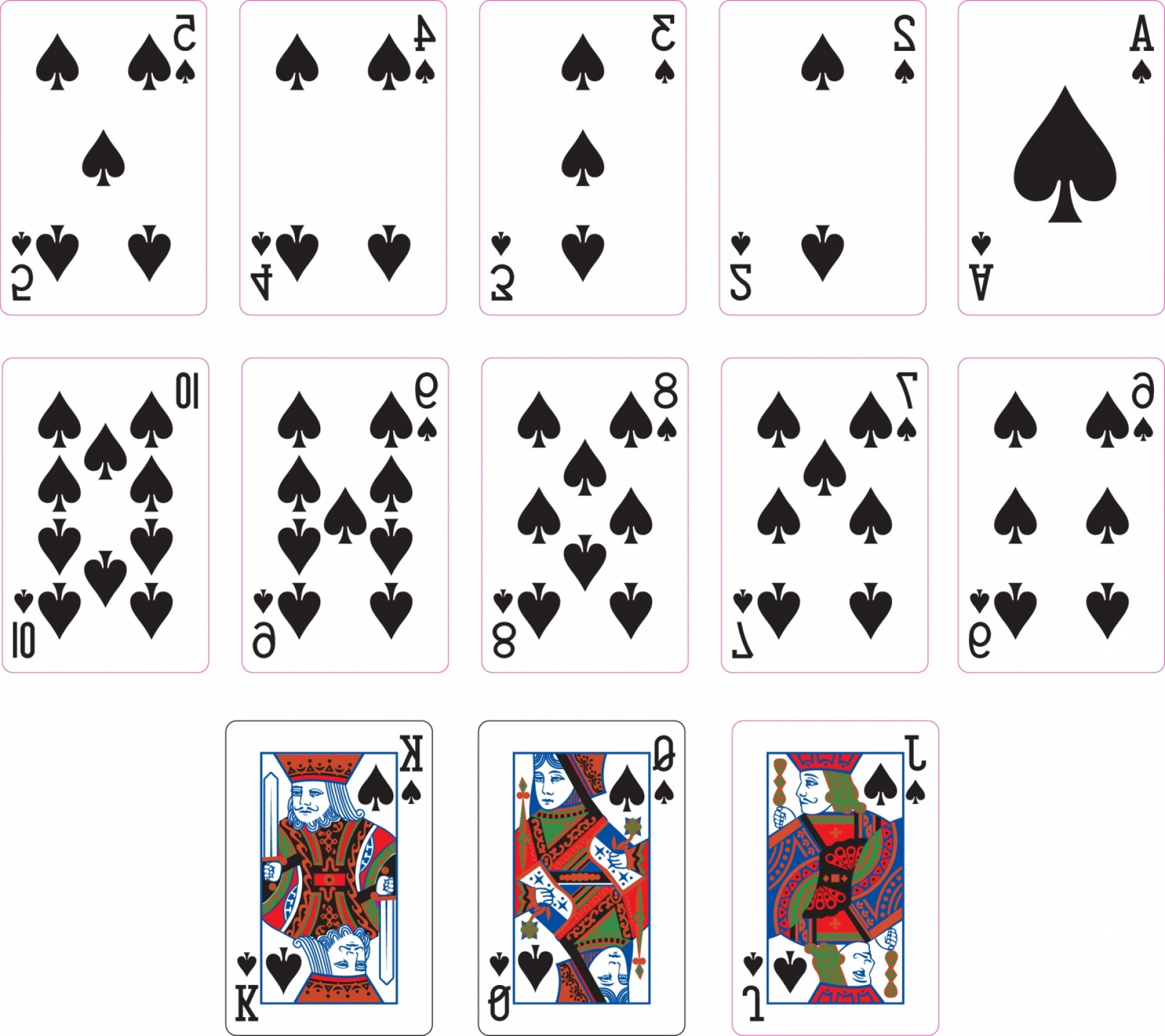 Spade Card Vector: Spade Suit Two Playing Cards
