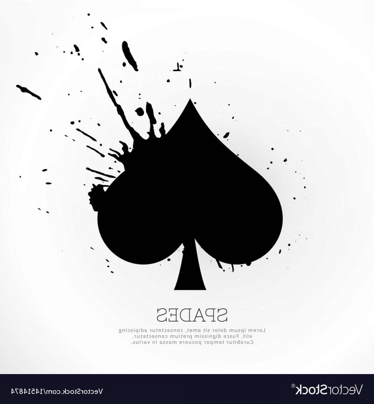 Spades Vector Art: Spades Symbol With Ink Splatter Vector