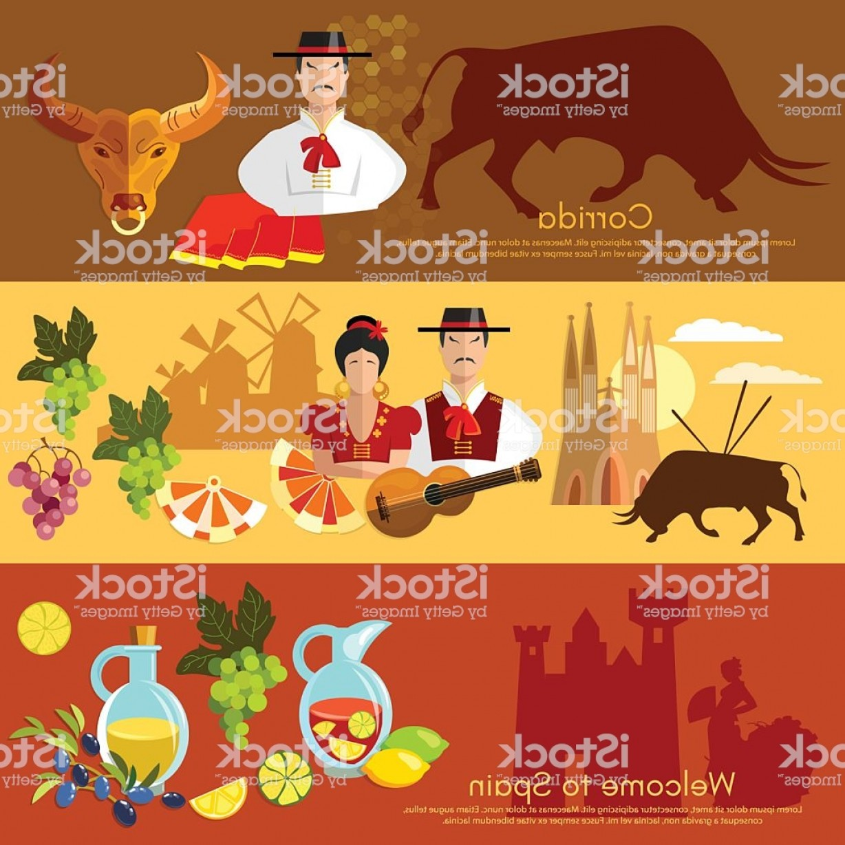 Spanish Vector Art: Spain Banner Traditions And Culture Spanish Gm