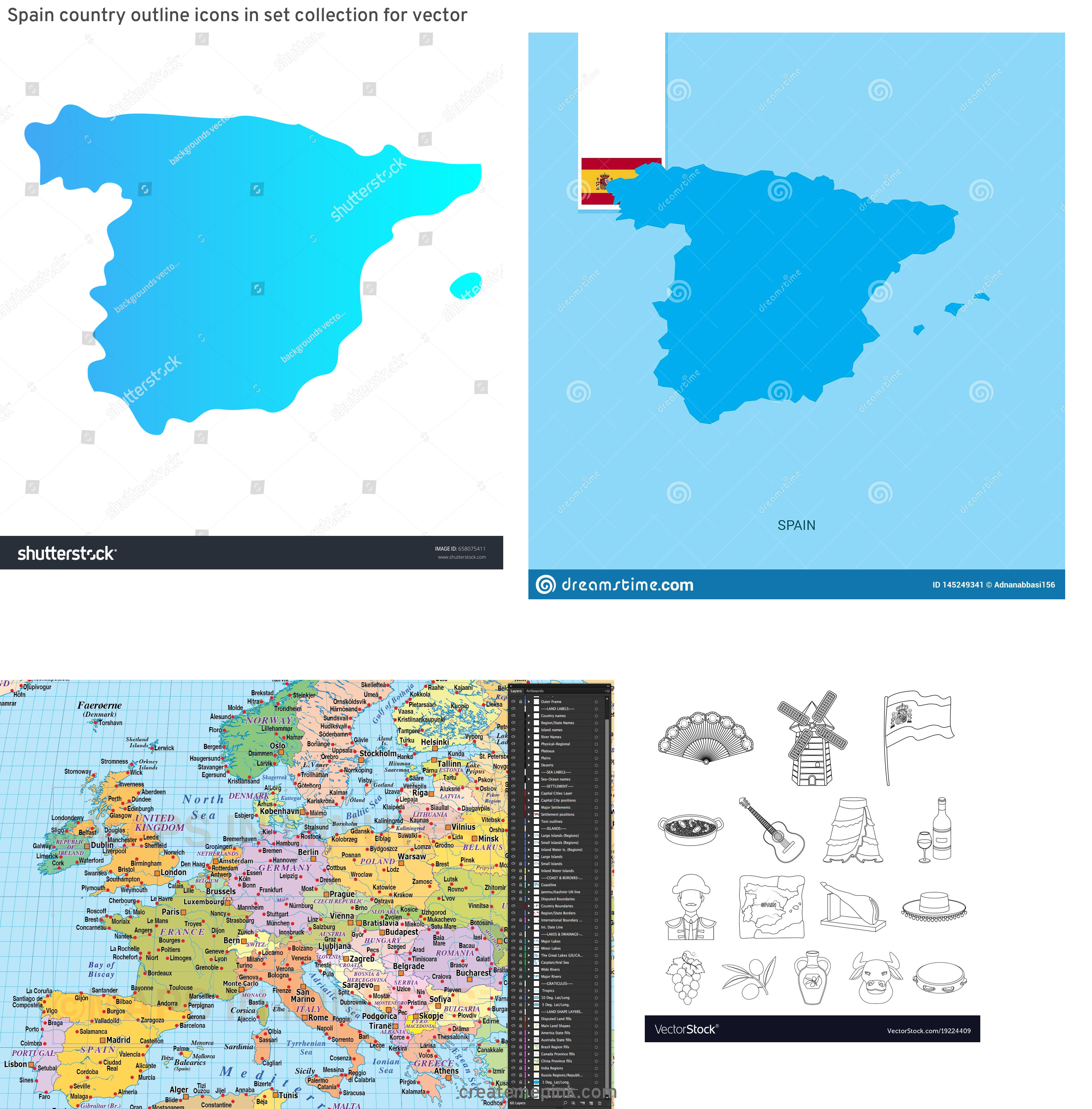 Spain Country Vectors Line: Spain Country Outline Icons In Set Collection For Vector