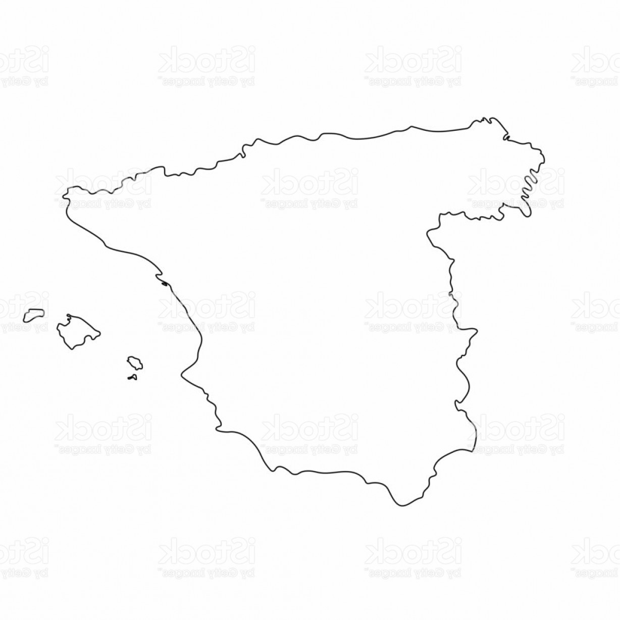 Spain Outline Vector: Spain Map Outline Graphic Freehand Drawing On White Background Vector Illustration Gm