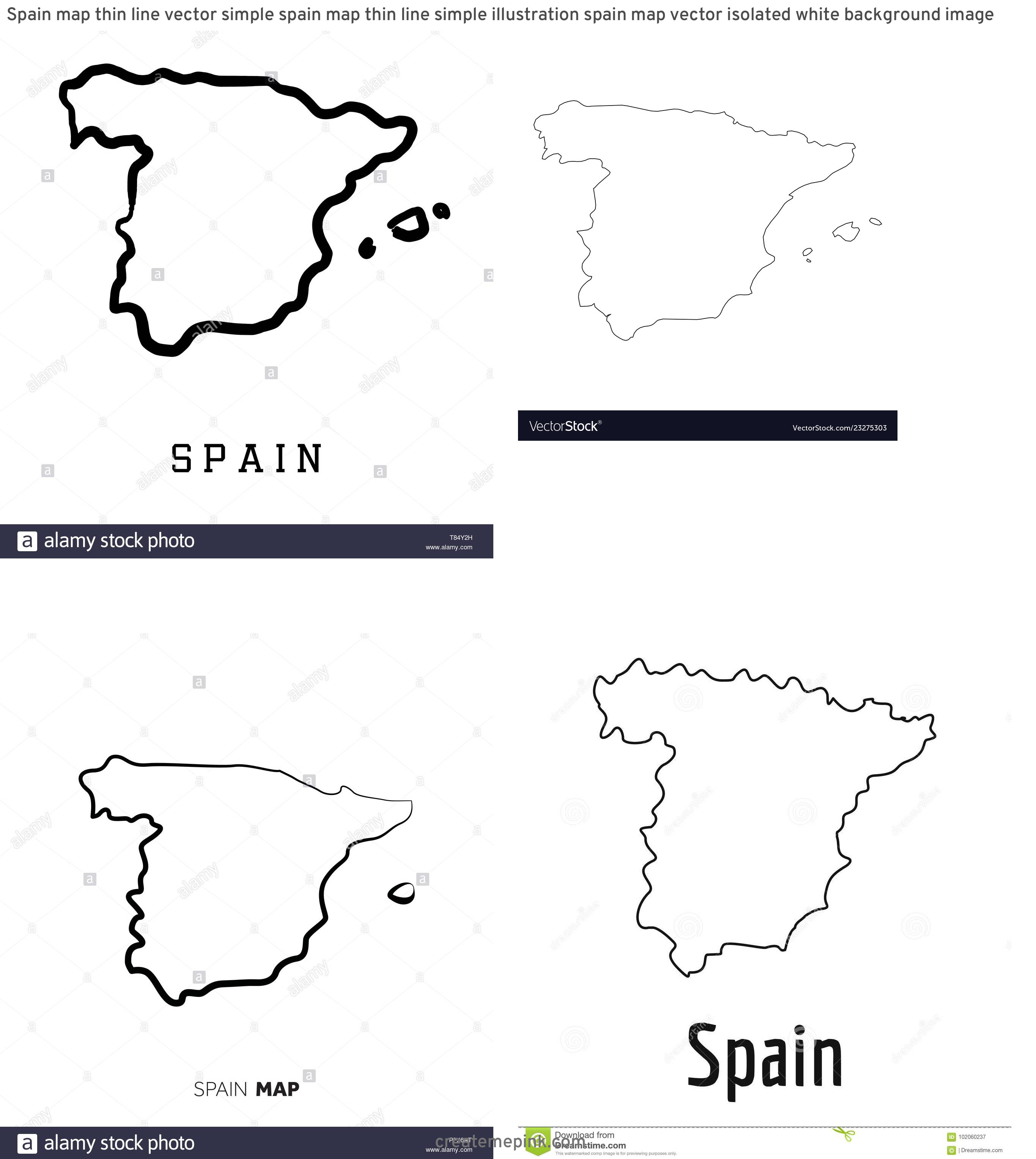 Spain Country Vectors Line: Spain Map Thin Line Vector Simple Spain Map Thin Line Simple Illustration Spain Map Vector Isolated White Background Image