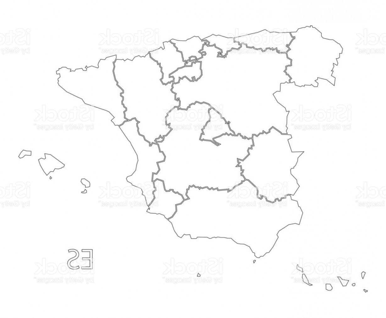 Spain Outline Vector: Spain Outline Silhouette Map Illustration With Provinces Gm