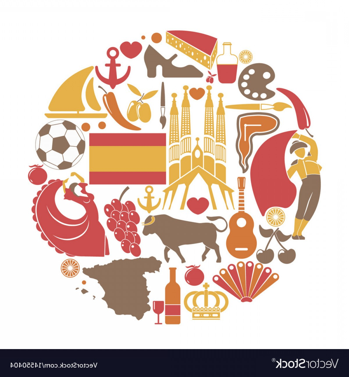 Spanish Vector Art: Spain Travel Sightseeing Icons And Spanish Vector