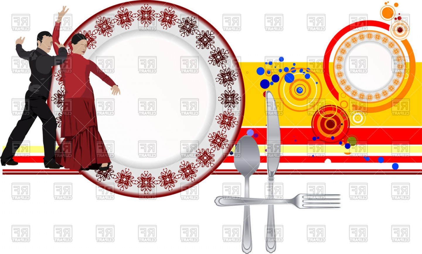 Spanish Vector Art: Spanish Restaurant Menu Template With Dancing Flamenco Couple Vector Clipart
