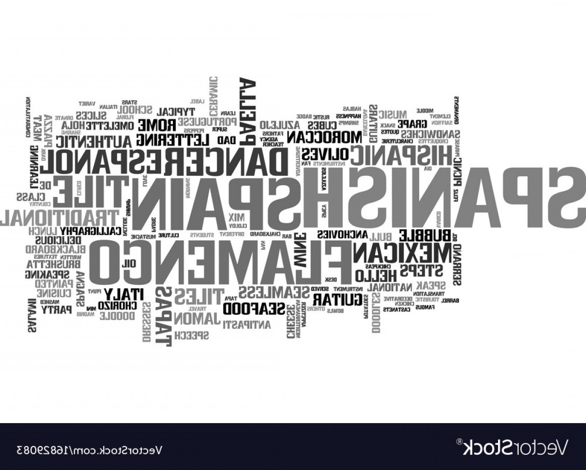 Vector Word Famous: Spanish Word Cloud Concept Vector