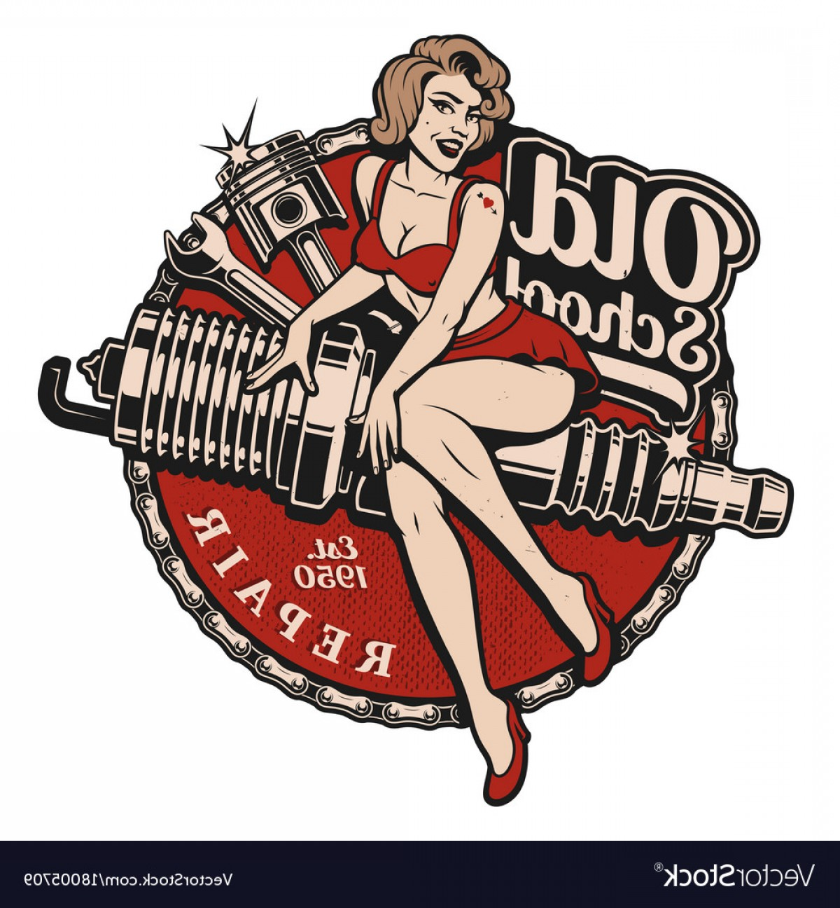 Pin Up Girls Vector Stock: Spark Plug Pin Up Girl Color Version Vector