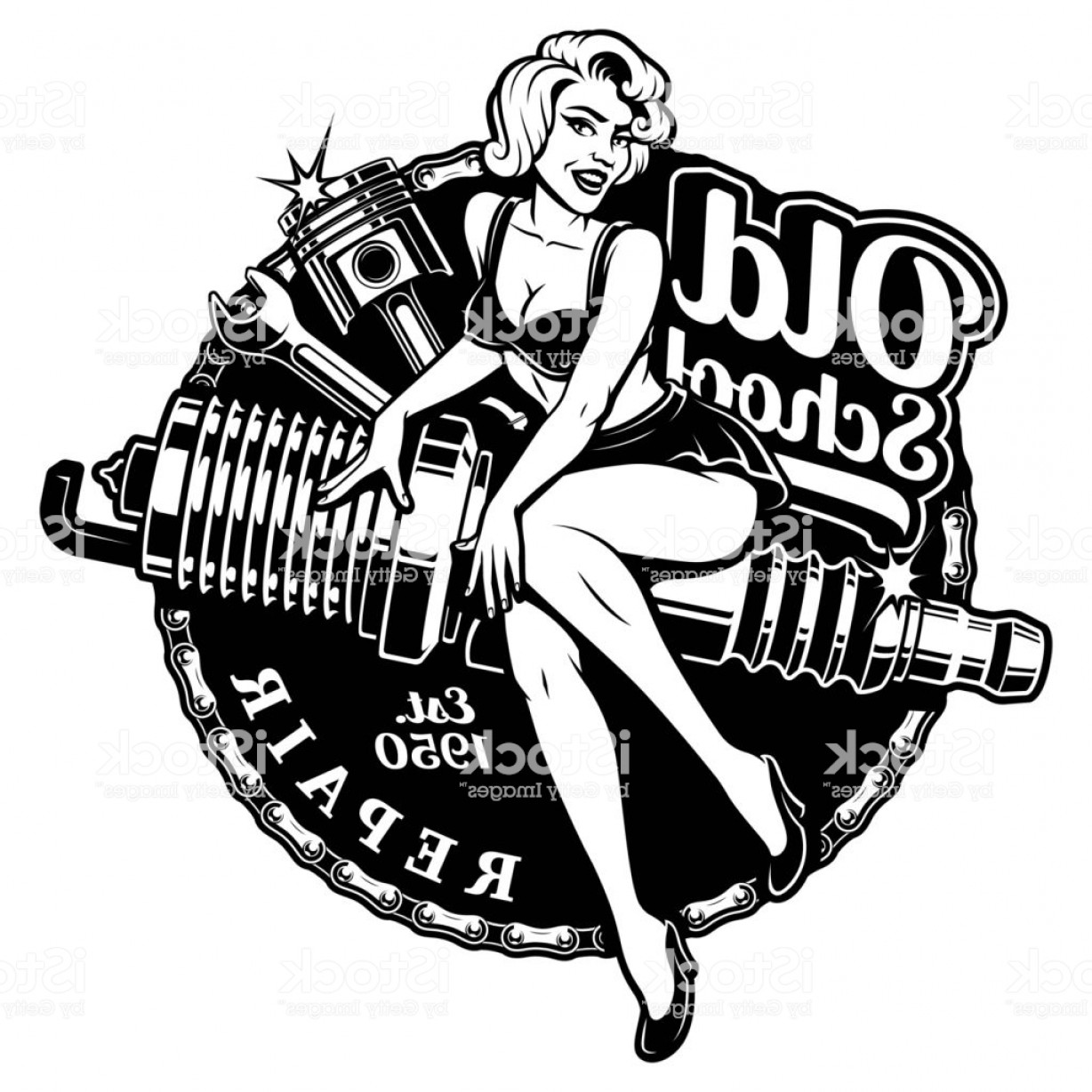 Spark Plug Vector: Spark Plug Pin Up Girl Gm