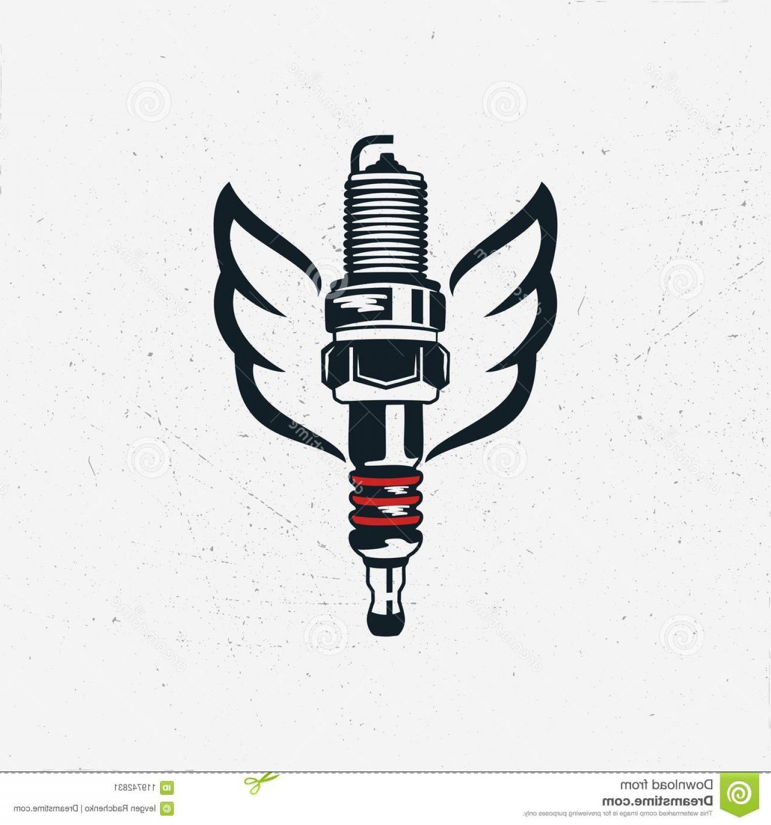 Spark Plug Vector: Spark Plug Wings Vintage Hand Drawn Automobile Tools Sparking Silhouette Style Stock Vector Isolated White Background Image