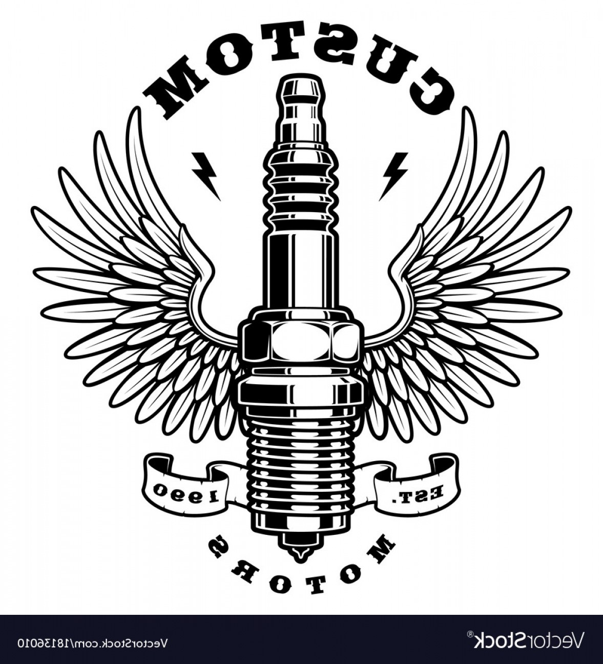 Spark Plug Vector: Spark Plug With Wings On White Background Vector