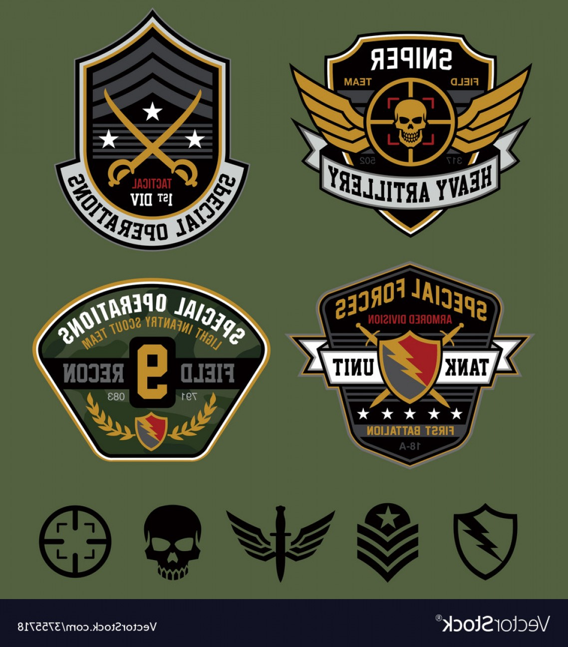Us Special Forces Vector Files: Special Ops Military Patches Vector
