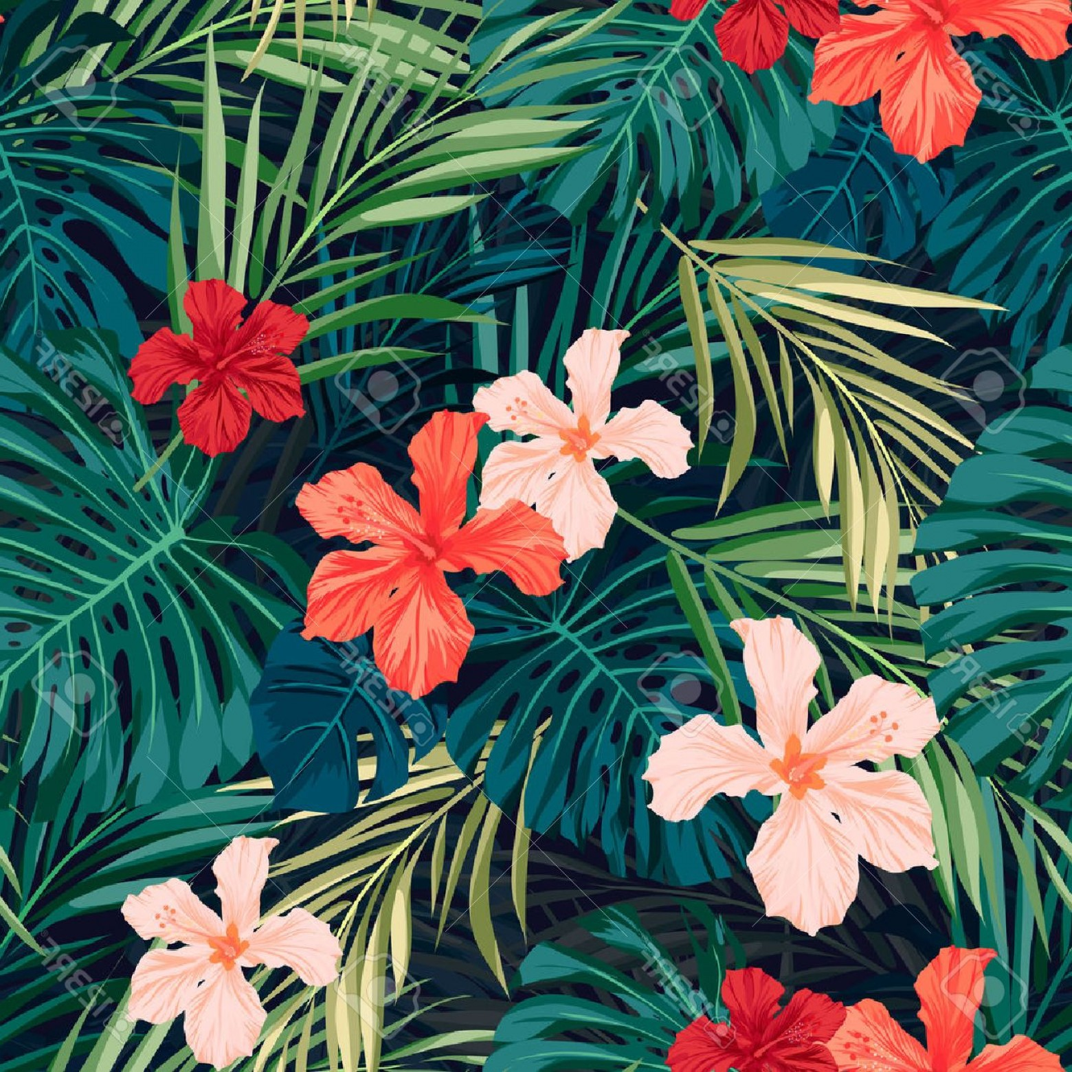 Hawaiian Flower Seamless Vector Pattern: Special Photostock Vector Summer Colorful Hawaiian Seamless Pattern With Tropical Plants And Hibiscus Flowers Vector Illustrat