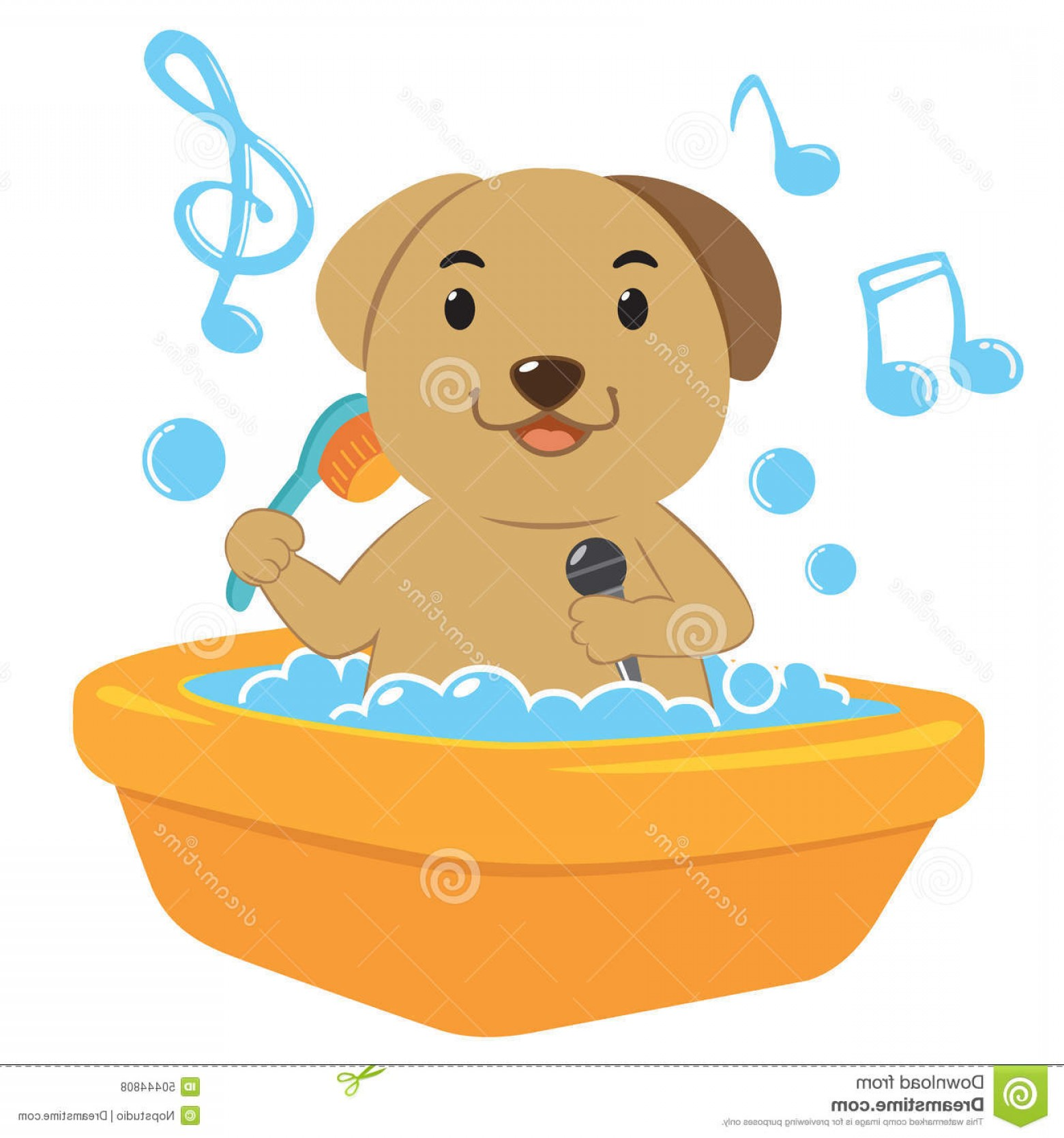 Dog Bubble Bath Vector: Special Stock Illustration Dog Bath Cartoon Happy Sing Song Bathtub Image