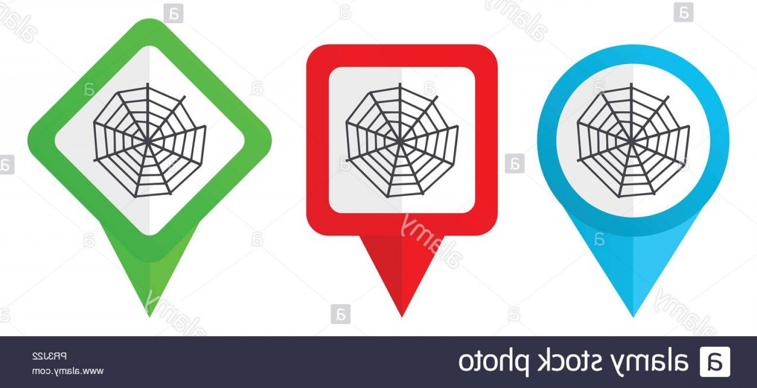 Easy Spider Vector Illustration: Spider Web Red Blue And Green Vector Pointers Icons Set Of Colorful Location Markers Isolated On White Background Easy To Edit Image