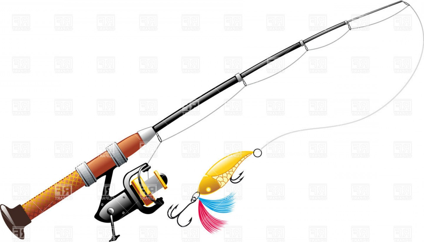 Rod And Reel Vectors: Spinning With Spoon Bait Fishing Rod With Reel Vector Clipart
