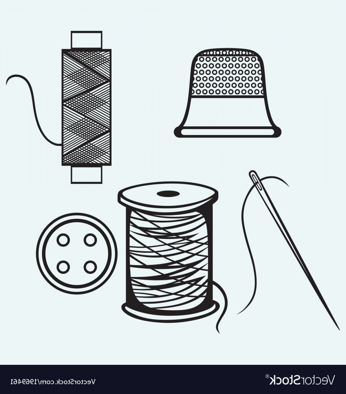 Sewing Spool Vector: Spool With Threads Sewing Button And Thimble Vector