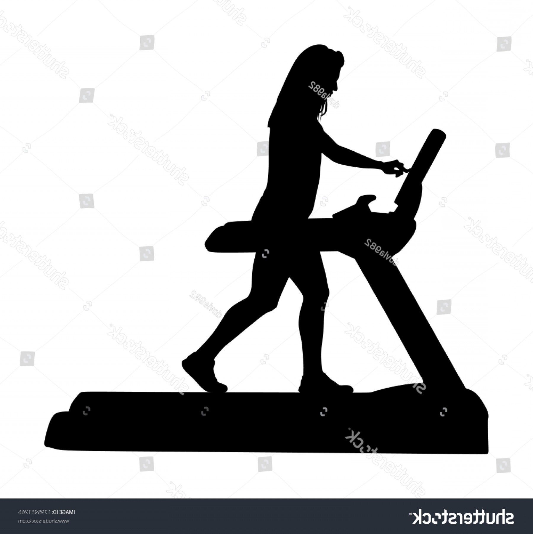 Vector Silhouette Of Girl Running Track: Sport Woman Running On Treadmill Gym
