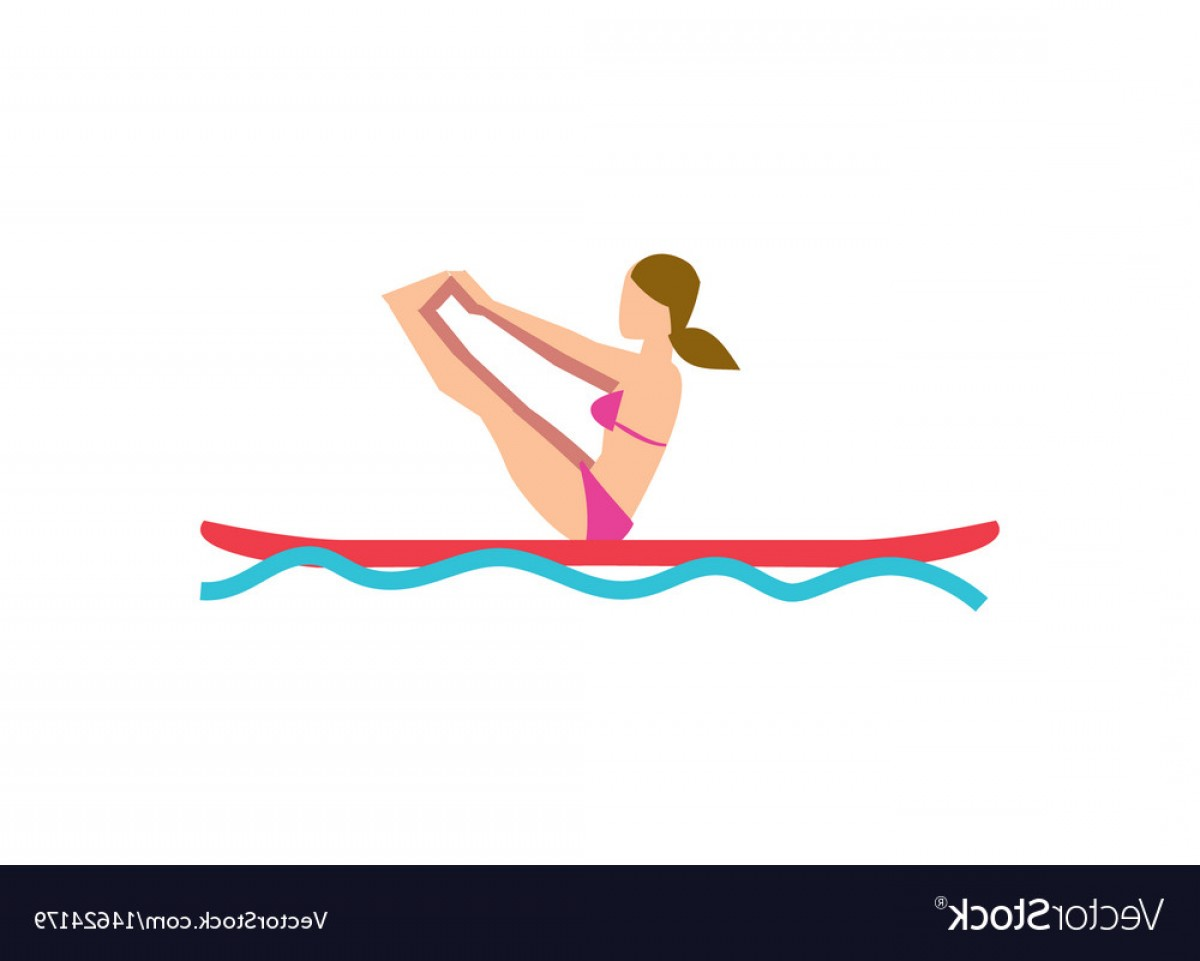 Stand Up Paddle Boarder Vector: Sportive Girl Doing Yoga Exercise On Board Vector