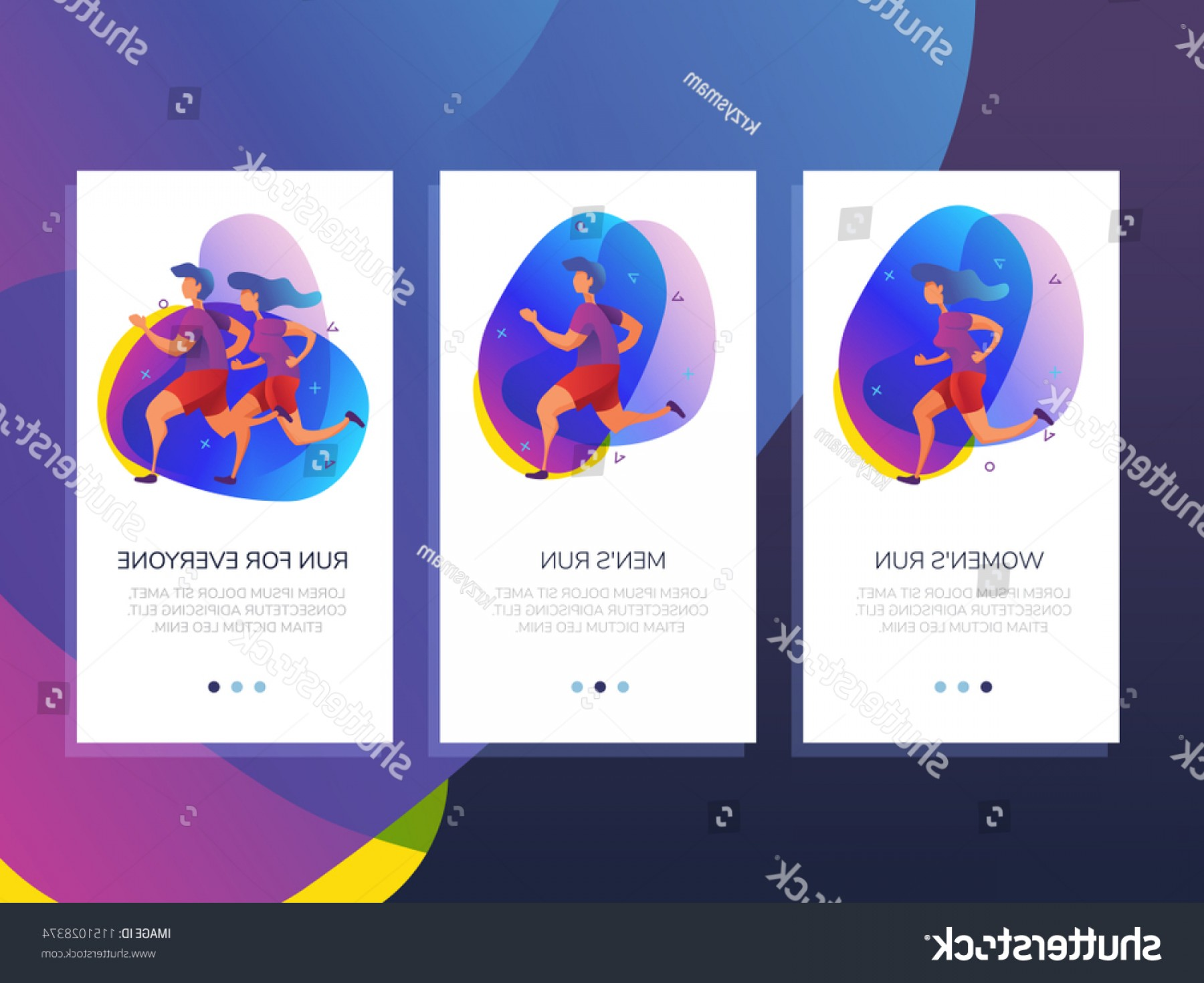 Shutterstock Vector Design With Runner: Sports App Runners Mobile Templates Concept