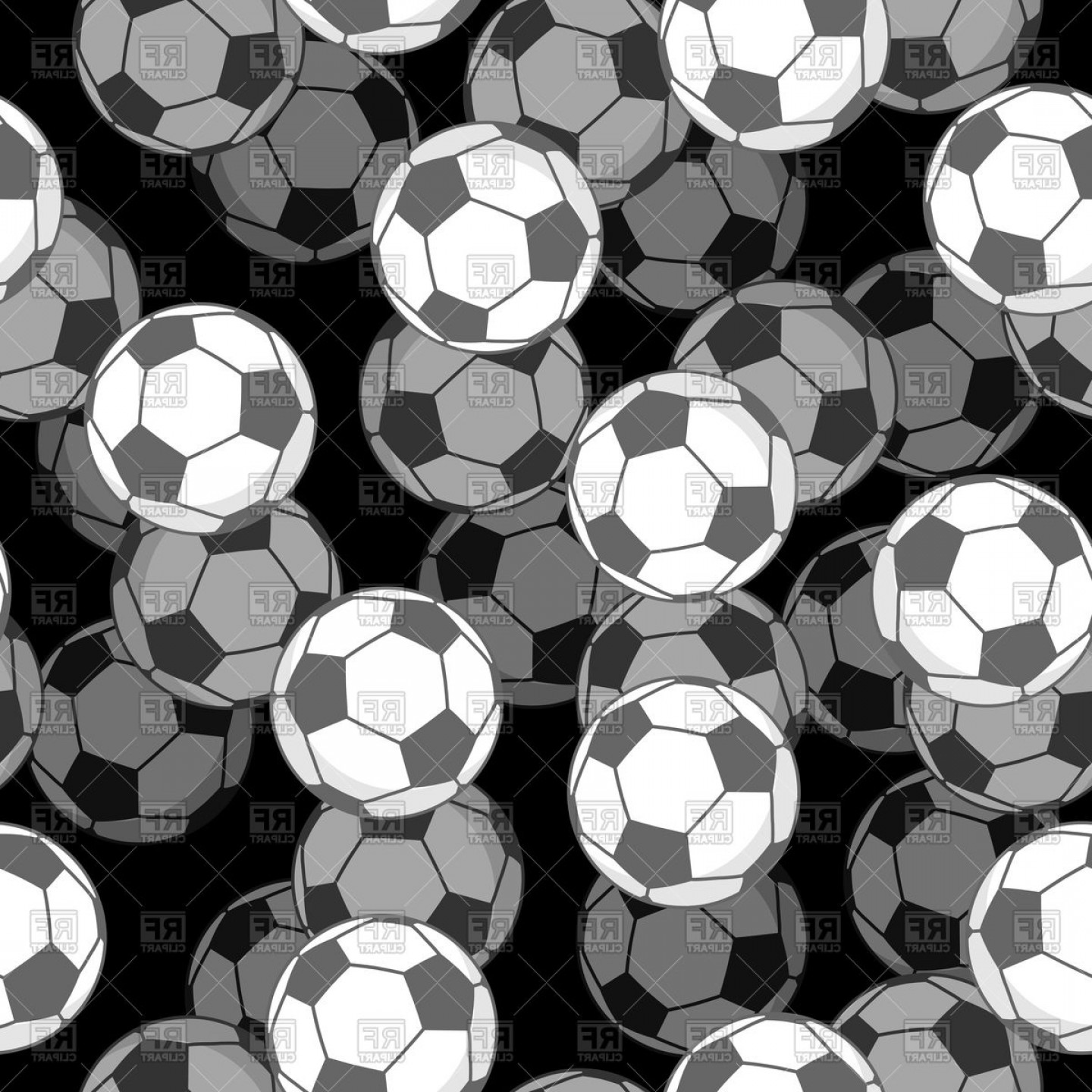 Vector Soccer Ball Pattern: Sports Background With Soccer Balls Seamless Pattern Vector Clipart